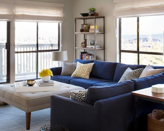 10 fotos de salas de estar com decora o de sof azul for Sala gris con azul