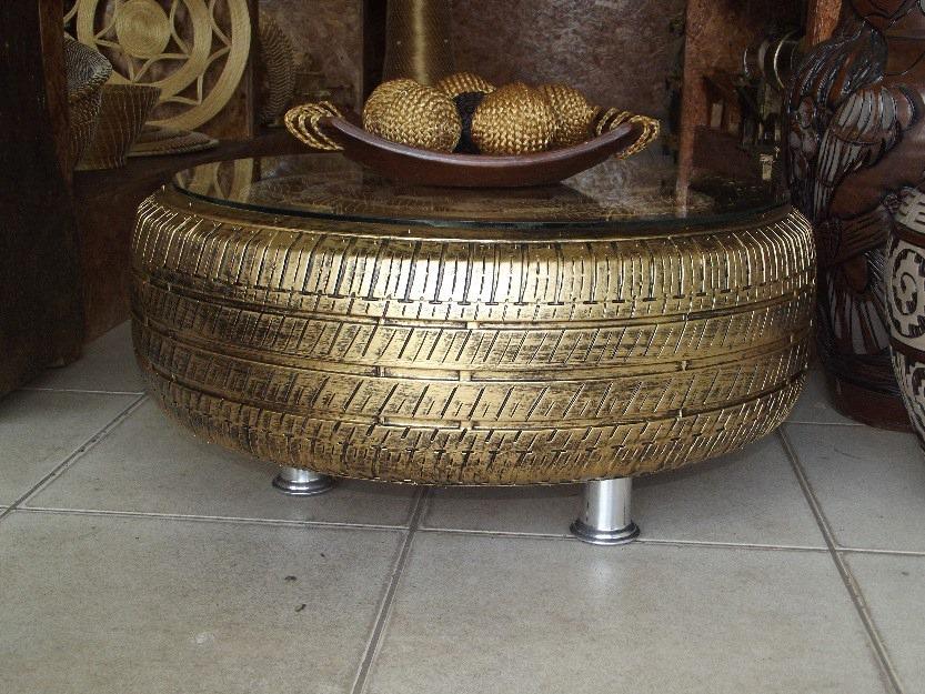 mesa de centro reutilização de pneu