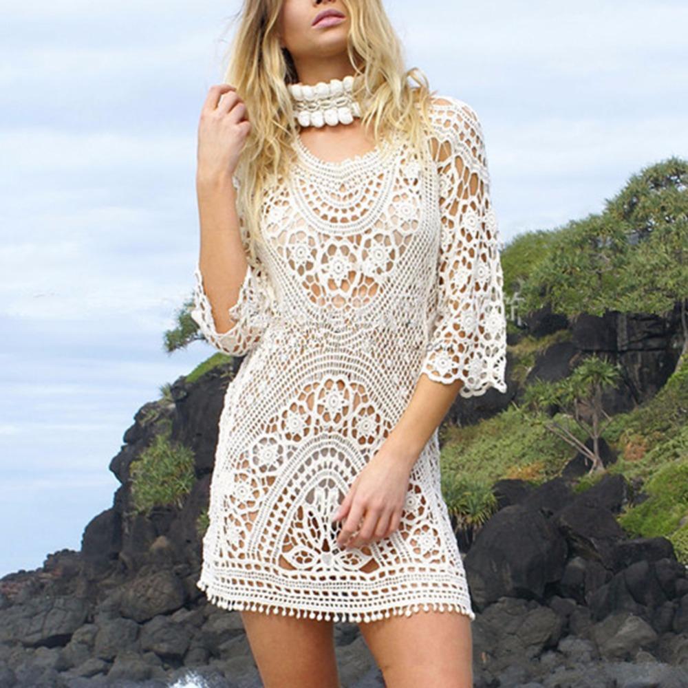 f49babc90 Saída de praia crochê branca longa: Assim como os modelos curtinhos também  temos os modelos longos, essas podem ser abertas (como um cardigã gigante),  ...